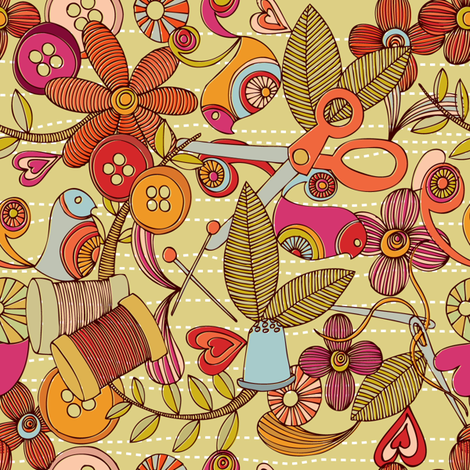 Sew and Smile fabric by valentinaharper on Spoonflower - custom fabric