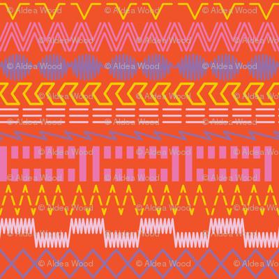 Sewing Machine Stitches on Orange