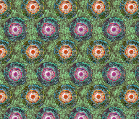 Forget Me Not - Green fabric by peonyandparakeet on Spoonflower - custom fabric