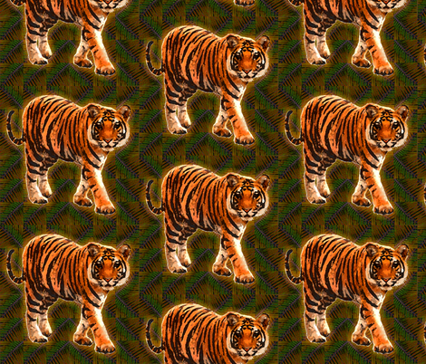 Tiger Walk fabric by topfrog56 on Spoonflower - custom fabric