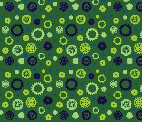 Cuteness Gears Green fabric by jenimp on Spoonflower - custom fabric