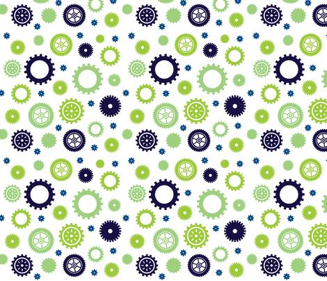 Cuteness Gears White fabric by jenimp on Spoonflower - custom fabric