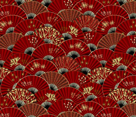 fan-tastic - red (medium) fabric by bippidiiboppidii on Spoonflower - custom fabric