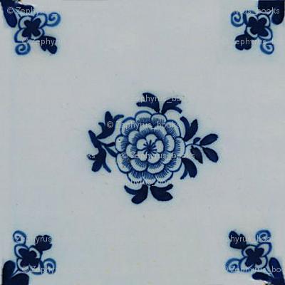 Classic Delft Blue Ceramic Tile Inspired Pattern - Floral motif