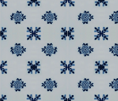 Classic Delft Blue Ceramic Tile Inspired Pattern - Floral motif fabric by zephyrus_books on Spoonflower - custom fabric