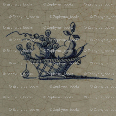 Classic Delft Blue Ceramic Tile Inspired Pattern - Fruit Basket motif