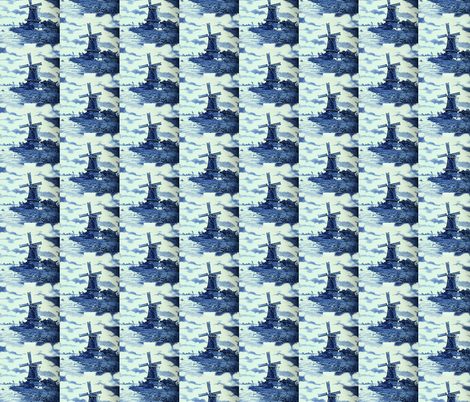 Classic Delft Blue Ceramic Tile Inspired Pattern - Windmill motif fabric by zephyrus_books on Spoonflower - custom fabric