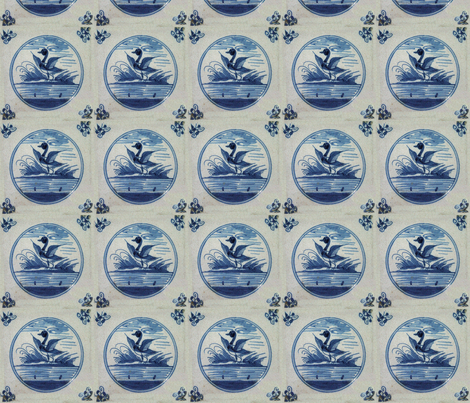 Classic Delft Blue Ceramic Tile Inspired Pattern - Flapping Duck motif fabric by zephyrus_books on Spoonflower - custom fabric