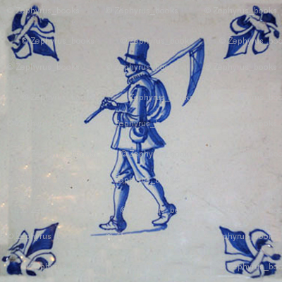 Classic Delft Blue Ceramic Tile Inspired Pattern - Field Mower with Scythe motif