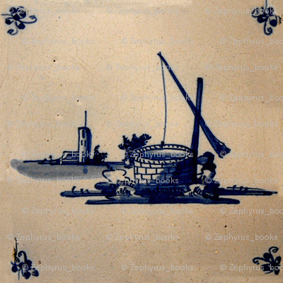 Classic Delft Blue Ceramic Tile Inspired Pattern - Well motif