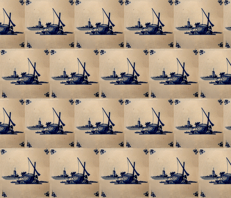Classic Delft Blue Ceramic Tile Inspired Pattern - Well motif fabric by zephyrus_books on Spoonflower - custom fabric