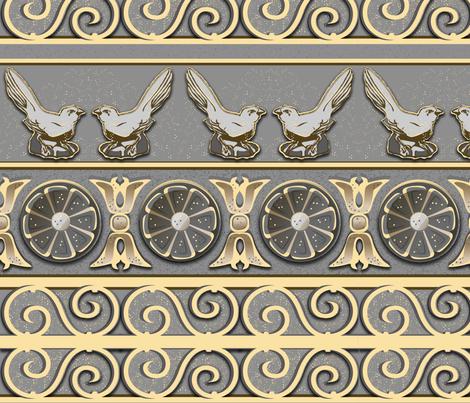 Bird Flower Scroll fabric by omahaha on Spoonflower - custom fabric
