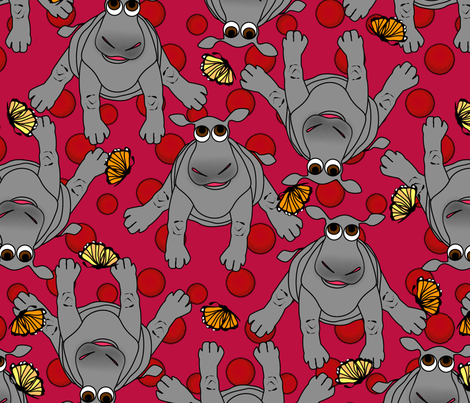 baby hippos  fabric by glimmericks on Spoonflower - custom fabric