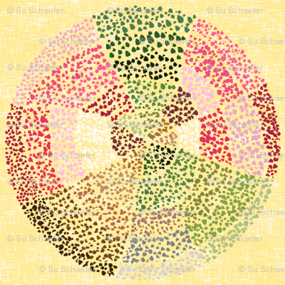 (NOW LARGER) Dot circles on rich cream by Su_G