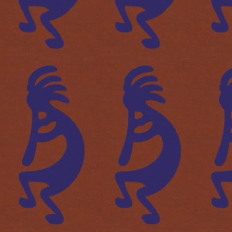 Blue Kokopelli on rust background - dancing, headdressed flute player (flautist or flutist) fabric by zephyrus_books on Spoonflower - custom fabric