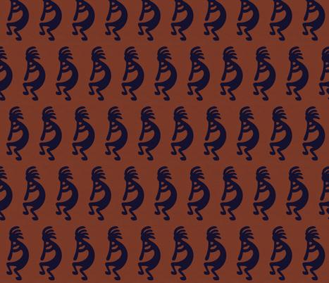 Black Kokopelli on rust background - dancing, headdressed flute player (flautist or flutist) fabric by zephyrus_books on Spoonflower - custom fabric