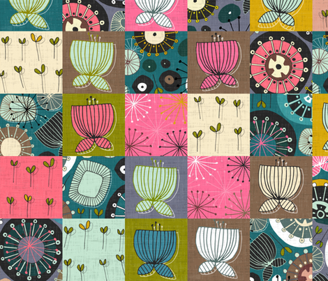 blooms patchwork fabric by scrummy on Spoonflower - custom fabric