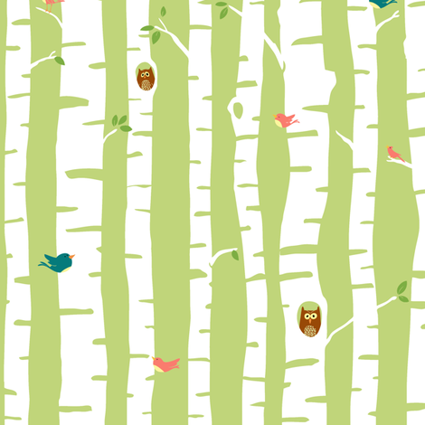 Trees in Spring fabric by sheena_hisiro on Spoonflower - custom fabric