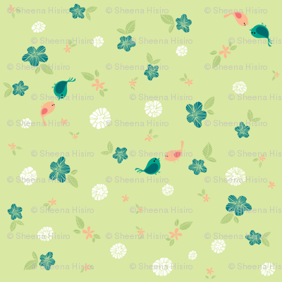 Floral with Birds on Green