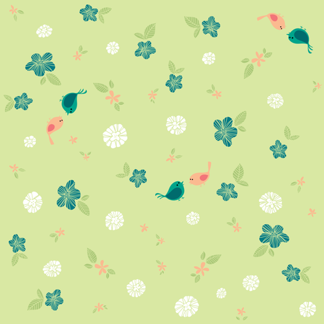 Floral with Birds on Green fabric by sheena_hisiro on Spoonflower - custom fabric