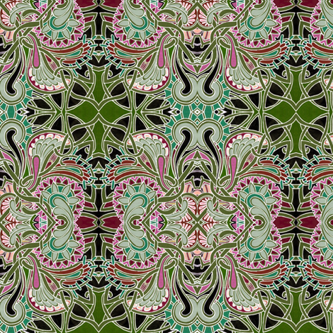Winged Diamonds in a Midnight Garden fabric by edsel2084 on Spoonflower - custom fabric