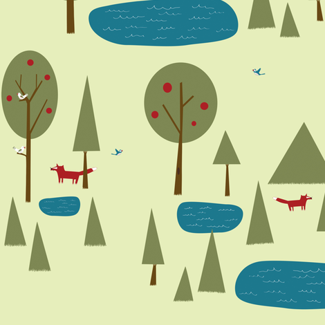 Fox in the Forest fabric by sheena_hisiro on Spoonflower - custom fabric