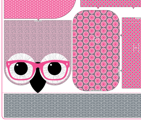 "Geeky Owl Bag - PINK - LINEN-COTTON 54"" fabric by happysewlucky on Spoonflower - custom fabric"