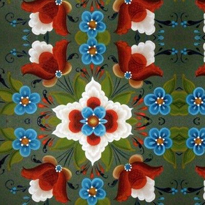 Norwegian Rose painting Christmas Red white and blue Tulips