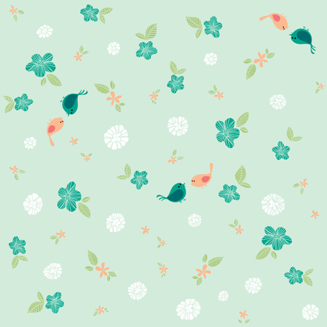 Floral with Birds on Teal fabric by sheena_hisiro on Spoonflower - custom fabric