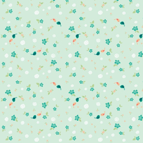 Floral with Birds on Teal