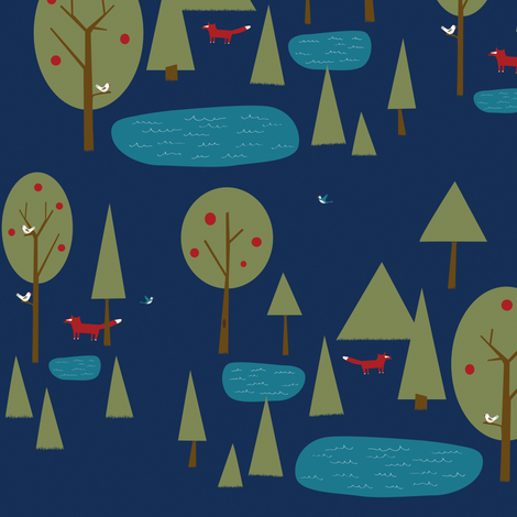 Fox in the Forest on Blue fabric by sheena_hisiro on Spoonflower - custom fabric