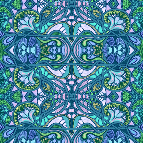Big Blue Stained Glass Window fabric by edsel2084 on Spoonflower - custom fabric
