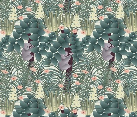 koala on cream fabric by kociara on Spoonflower - custom fabric