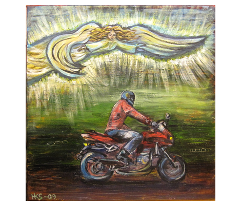 motorcycler_with_guardian_angel fabric by vinkeli on Spoonflower - custom fabric