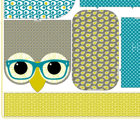 Geeky Owl Bag - TEAL - Linen-Cotton fabric by happysewlucky on Spoonflower - custom fabric