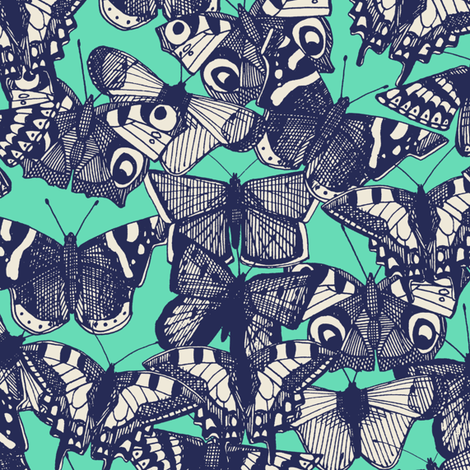 butterfly mint fabric by scrummy on Spoonflower - custom fabric
