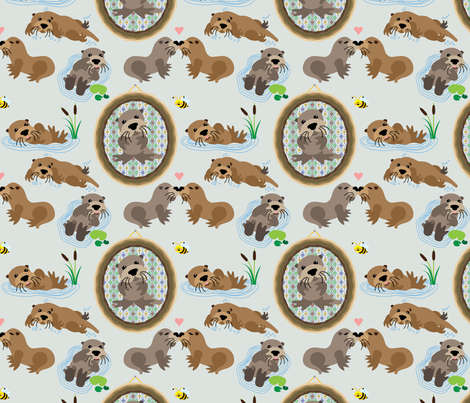 otters fabric by thickblackoutline on Spoonflower - custom fabric