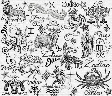 ZODIAC CANVAS CALLIGRAPHY fabric by bluevelvet on Spoonflower - custom fabric