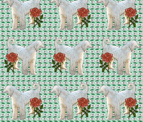 Afghan and Roses Two fabric by dogdaze_ on Spoonflower - custom fabric