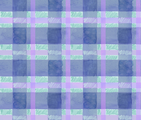 Watercolor plaid in blue fabric by jenr8 on Spoonflower - custom fabric