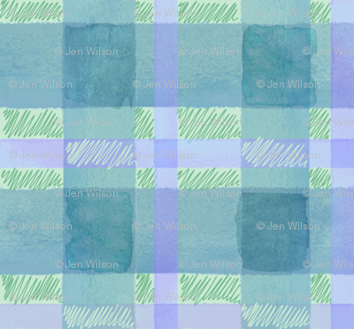 watercolor plaid in green