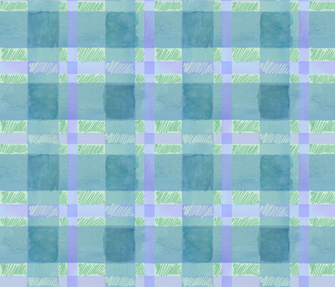 watercolor plaid in green fabric by jenr8 on Spoonflower - custom fabric