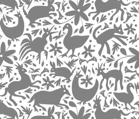 Mexico Springtime: Grey on White (Large Scale) fabric by sammyk on Spoonflower - custom fabric