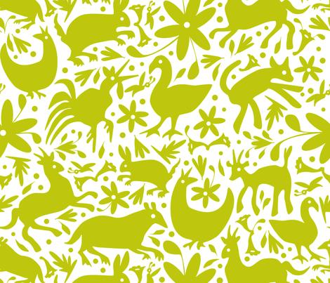 Mexico Springtime: LemonLime on White (Large Scale) fabric by sammyk on Spoonflower - custom fabric