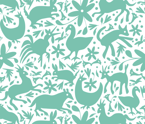 Mexico Springtime: Mint on White (Large Scale) fabric by sammyk on Spoonflower - custom fabric