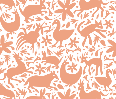 Mexico Springtime: Peach on White (Large Scale) fabric by sammyk on Spoonflower - custom fabric