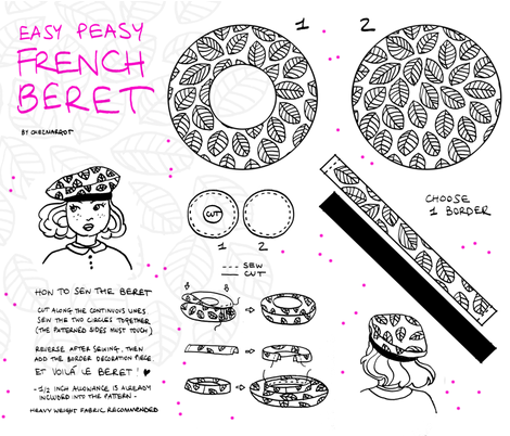 Easy Peasy French Beret fabric by chezmargot on Spoonflower - custom fabric