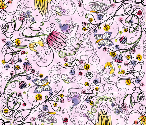 Secret Garden in Pink - © Lucinda Wei fabric by lucindawei on Spoonflower - custom fabric