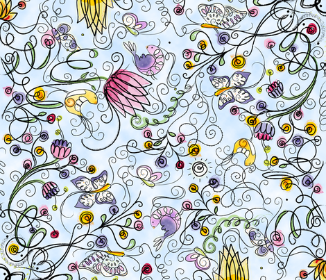 Secret Garden in Blue -  © Lucinda Wei fabric by lucindawei on Spoonflower - custom fabric