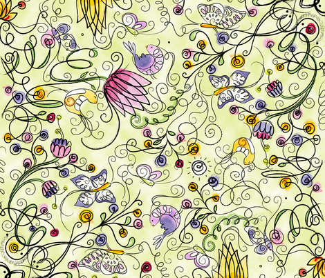 Secret Garden in Lime - © Lucinda Wei fabric by lucindawei on Spoonflower - custom fabric